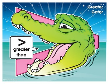 Greater Gator (Greater Than) Number Buddy Poster