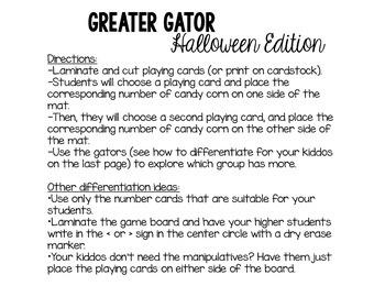 Halloween Math Center: Greater Than/Less Than