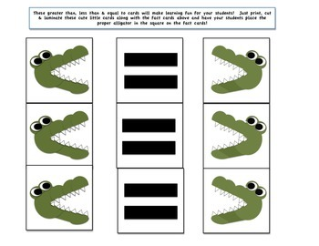 Greater, Less & Equals Gator & Fact Cards
