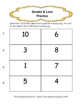 Greater & Less Kindergarten Practice