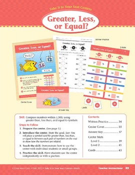 Greater, Less, or Equal? (Take It to Your Seat Centers Common Core Math)