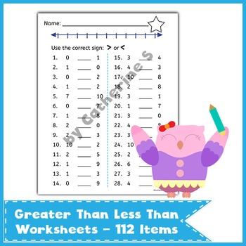Greater Than Less Than Worksheets