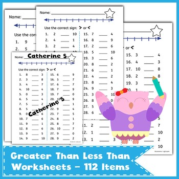greater than less than worksheets by catherine s tpt. Black Bedroom Furniture Sets. Home Design Ideas