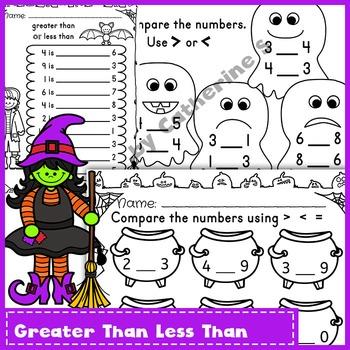 Comparing Numbers Worksheets - Halloween
