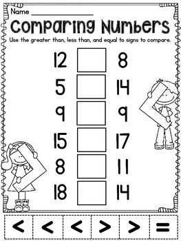 Greater Than Less Than Equal To Comparing Numbers Activities