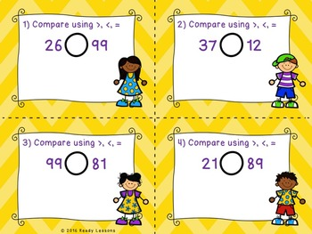 Greater Than Less Than 2 Digit Numbers Task Cards 1.NBT.3