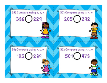 Comparing 3 Digit Numbers Task Cards 2.NBT.4