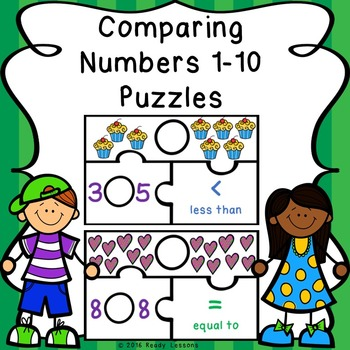 Greater Than Less Than Equal To Comparing Numbers Game Puzzles K.CC.6 and K.CC.7