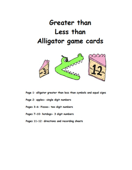 Greater Than Less Than Alligator Game Cards