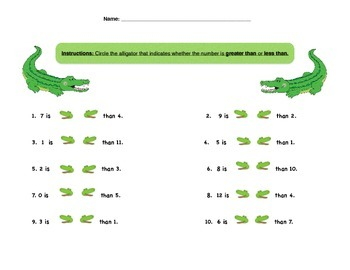 Greater Than, Less Than, Alligator, Worksheet,