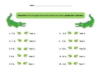 Greater Than, Less Than, Alligator, Worksheet,
