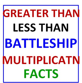 Greater Than Less Than Battleship (Multiplication Facts)