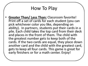Greater Than Less Than Card Game