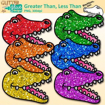 Greater Than Less Than Clip Art {Inequality Alligator Graphics for Math}