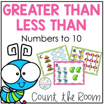 Greater Than Less Than Comparing Numbers to 10 Kindergarten Task Cards