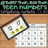 Teen Numbers Kindergarten Center Comparing Numbers 11-20 Digital Activity