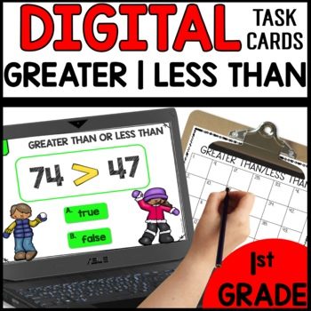 Greater Than Less Than  DIGITAL TASK CARDS