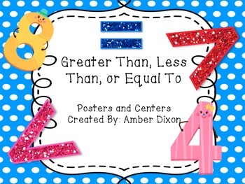 Greater Than, Less Than, Equal To Centers For Kinders