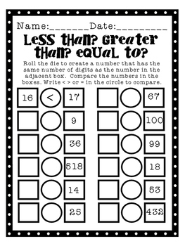 Greater Than Less Than Equal To - Number Sense