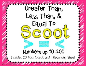 Greater Than, Less Than, Equal To SCOOT Game/Task Cards - Numbers up to 200