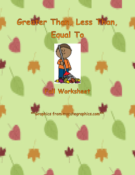 Greater Than, Less Than, Equal To Worksheet: Fall Edition