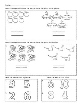 Greater Than/Less Than Exit Ticket/Review