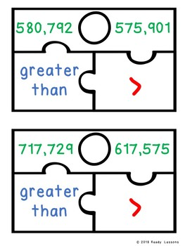 Greater Than Less Than Game Multi-Digit Comparing Numbers Game Puzzles 4.NBT.2