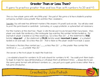 Greater Than Less Than Game for Numbers to 20 and 40