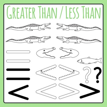 Greater Than Less Than Line Art Alligators / Comparing Numbers Clip Art Pack