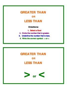 Greater Than Less Than Math Center Activity