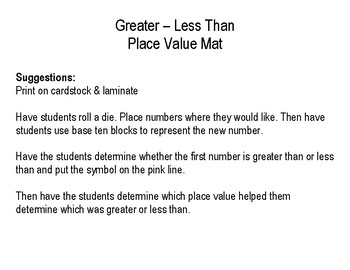 Greater Than - Less Than Place Value Mat