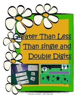 Greater Than Less Than Single and Double Digits Math Center- Digital Download
