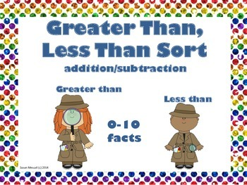 Greater Than, Less Than Sort  0-10 Facts