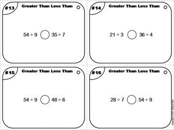 Greater Than Less Than Equal To Task Cards 4th 5th 6th Grade