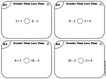 Greater Than Less Than Equal To Task Cards 1st, 2nd, 3rd Grade