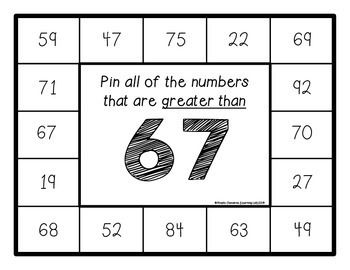 Greater Than, Less Than (Whole Numbers Within 100) - Self-Checking Math Centers