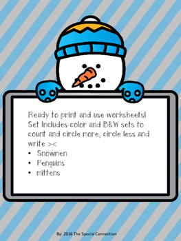 Greater Than/Less Than Winter Worksheets