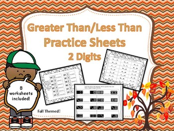 Greater Than/Less Than Worksheets (2-Digit)