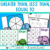 Greater Than, Less Than and Equal To  Math Centers and Worksheets