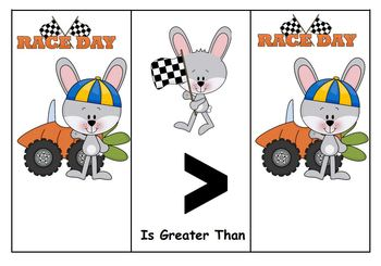 Greater Than Less Than and Equal To with Carrot Racing Bunnies