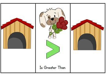 Greater Than Less Than and Equal To with Valentine Puppies