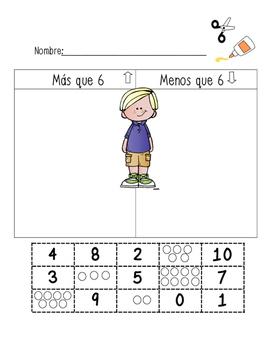 Greater Than Less Than Kindergarten sort in Spanish