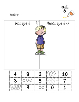 Greater Than Less Than Kindergarten sort in Spanish
