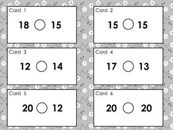 Greater Than, Less Than or Equal?  Comparison Cards for Scoot & Sorting Games