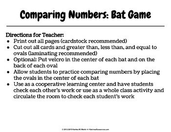Greater Than, Less Than, or Equal To Bats Game
