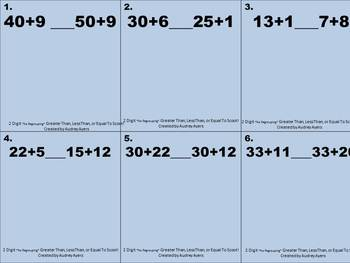 Greater Than, Less Than, or Equal To SCOOT Game! 2 digit Sums, NO Regrouping
