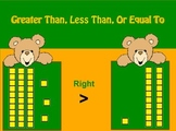 Greater Than Less Than or Equal To With Base 10 Blocks flip chart Game 1s & 10s