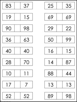 Greater Than, Less Than, or Equal To Worksheet Set