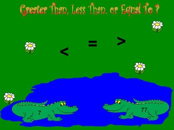 Interactive Flipchart Game Greater Than Less Than or Equal To With Numbers