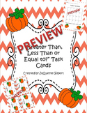 Greater Than, Less Than, or Equal to? Pumpkin Task Cards (numbers 0-10)